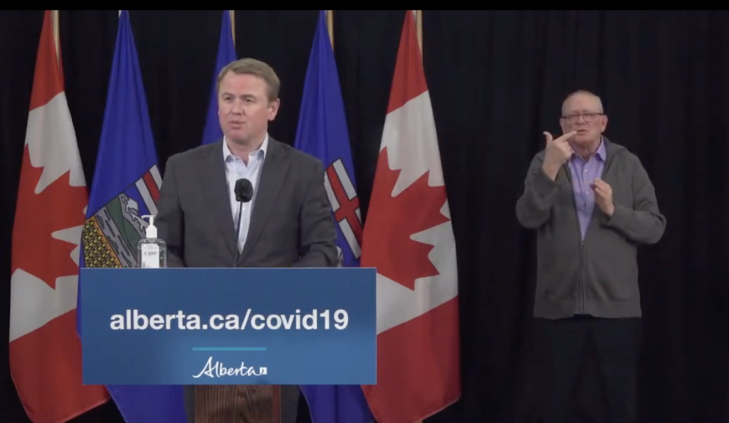 Alberta Health Minister Tyler Shando provides an update on massage therapists being permitted to resume work under certain guidelines in Alberta during the current Covid-19 lockdown.