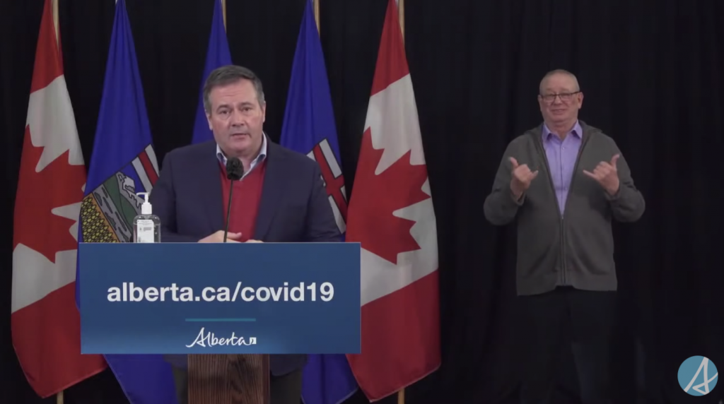 A screenshot of Alberta Premier Jason Kenney giving an update on COVID-19 in a press conference on December 22, 2020